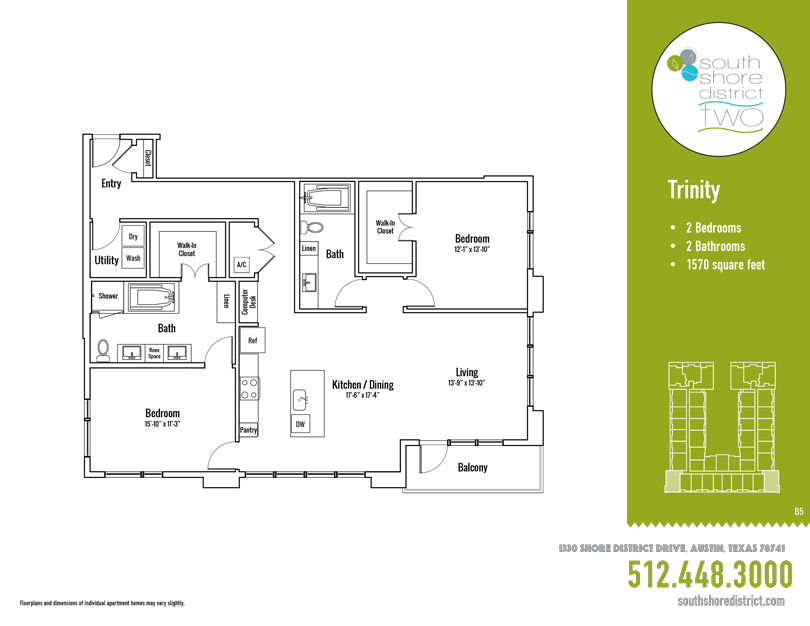 1,570 sq. ft. Trinity floor plan