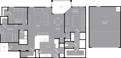 1,537 sq. ft. C2 floor plan