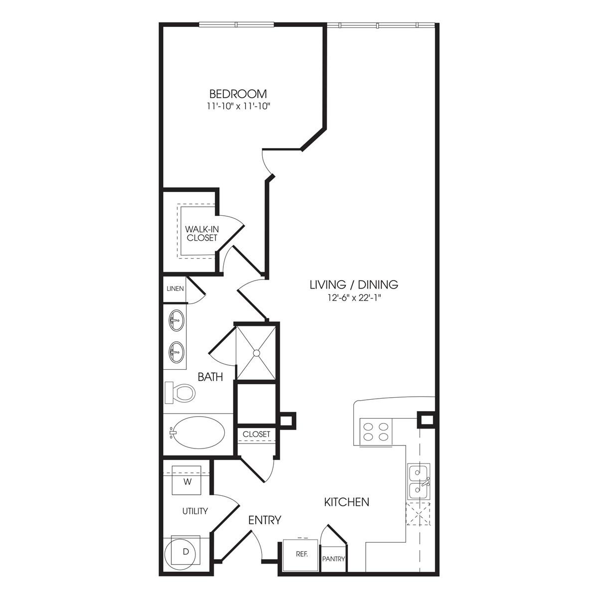 941 sq. ft. Green Park floor plan