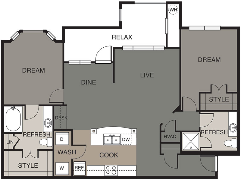 1,209 sq. ft. Inks floor plan