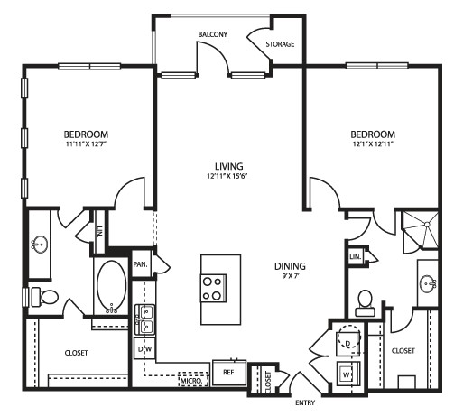 1,066 sq. ft. B1 floor plan
