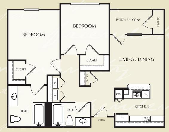 860 sq. ft. B2/60% floor plan