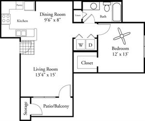 713 sq. ft. Fiore floor plan