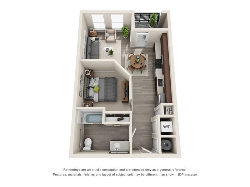 584 sq. ft. E1A floor plan