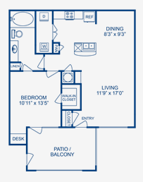 769 sq. ft. Nueces floor plan