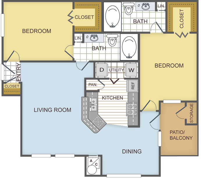 1,077 sq. ft. MAGNOLIA floor plan