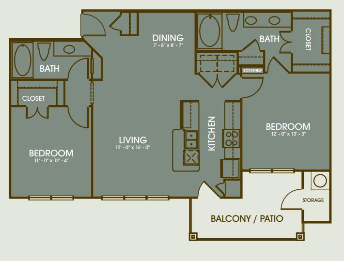 1,353 sq. ft. B5 floor plan