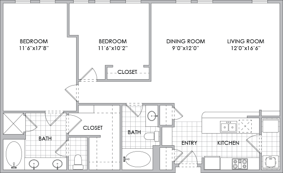 1,245 sq. ft. B5 floor plan