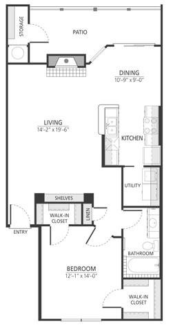 886 sq. ft. A3fp floor plan