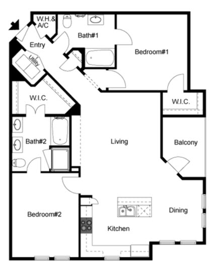 1,267 sq. ft. Oak floor plan