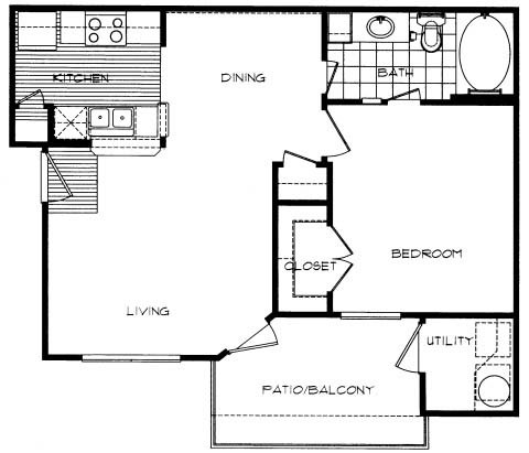 637 sq. ft. CANYON floor plan