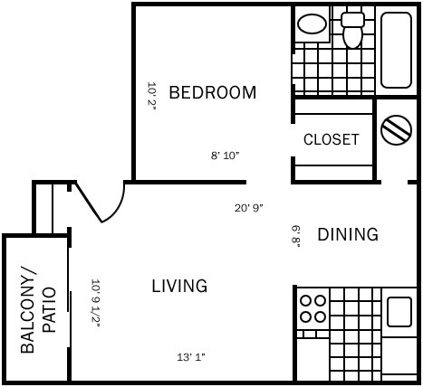442 sq. ft. A floor plan
