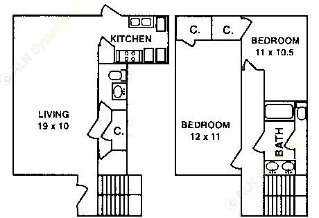 1,199 sq. ft. B-2A floor plan