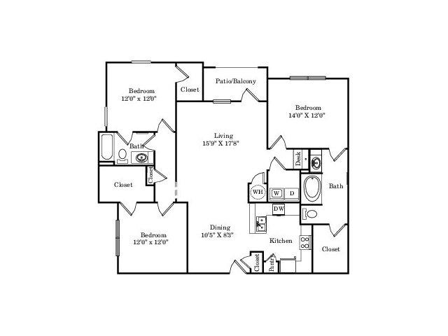 1,479 sq. ft. C1 floor plan