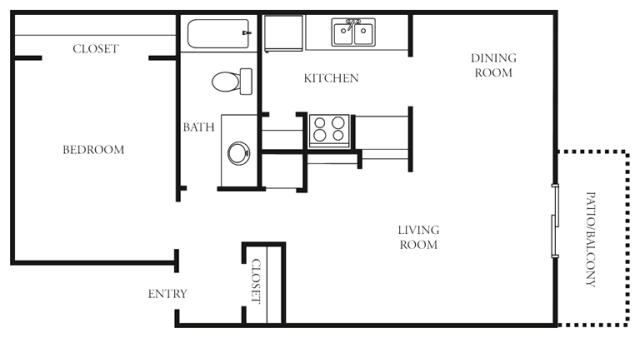 665 sq. ft. to 681 sq. ft. C1 floor plan