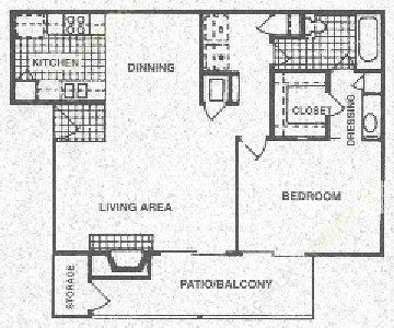 888 sq. ft. A floor plan