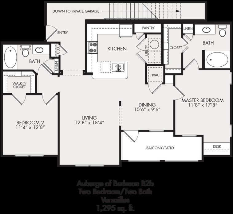 1,295 sq. ft. floor plan