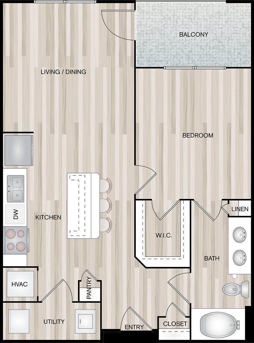 818 sq. ft. A3-Propeller floor plan