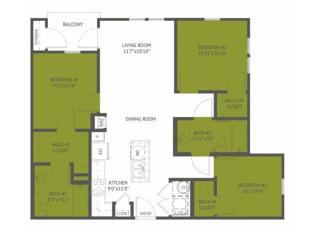 1,050 sq. ft. Leisure/Mkt floor plan