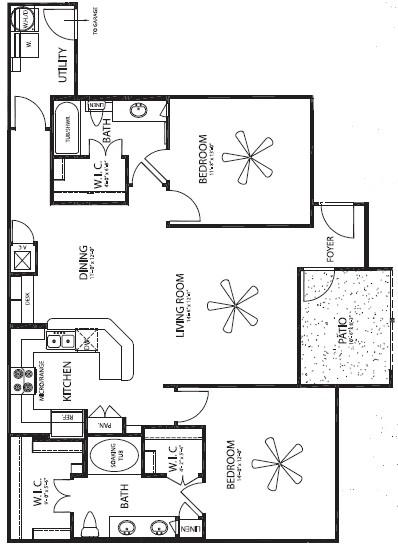 1,285 sq. ft. Hacienda/G floor plan