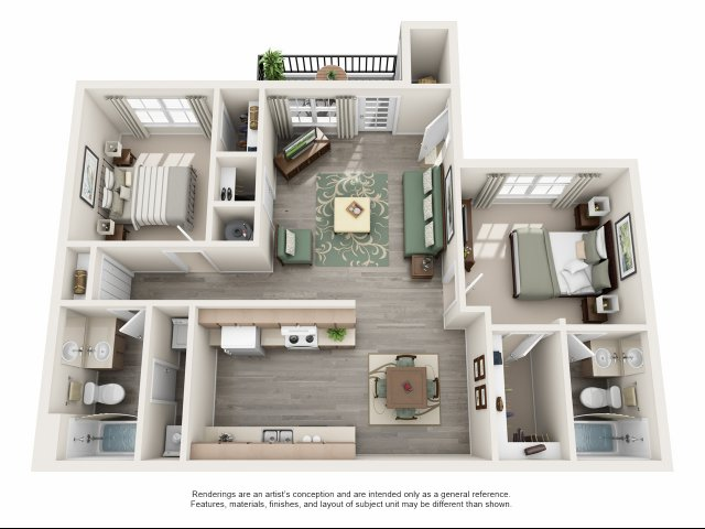 964 sq. ft. B floor plan