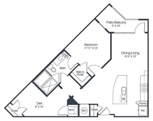 889 sq. ft. A5A floor plan