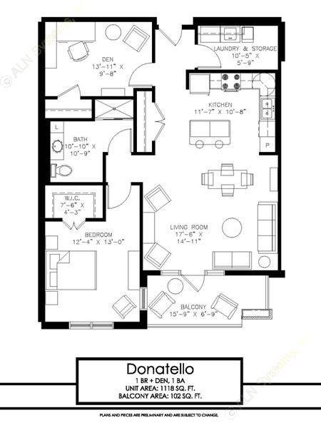 1,118 sq. ft. Donatello floor plan