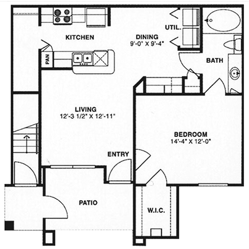 735 sq. ft. A1,A3/60% floor plan