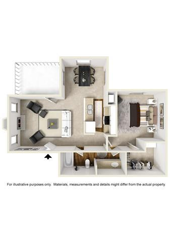 689 sq. ft. E1 floor plan