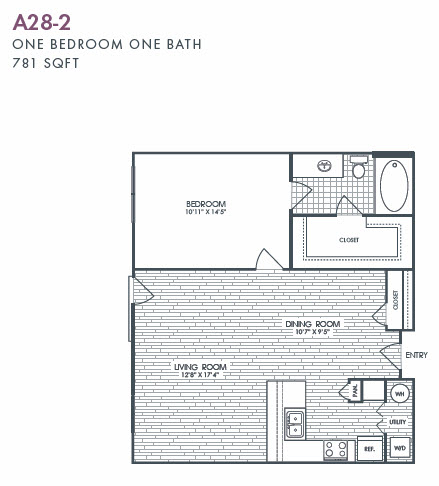 781 sq. ft. A28-2 floor plan