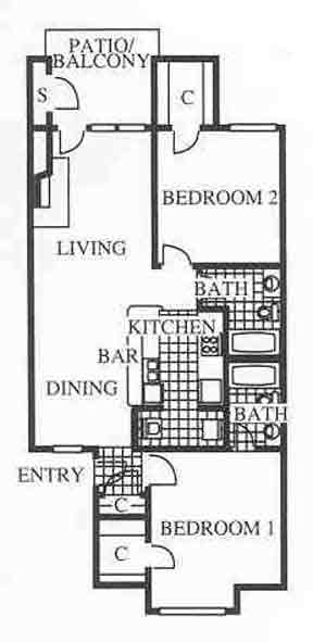 924 sq. ft. B1 floor plan