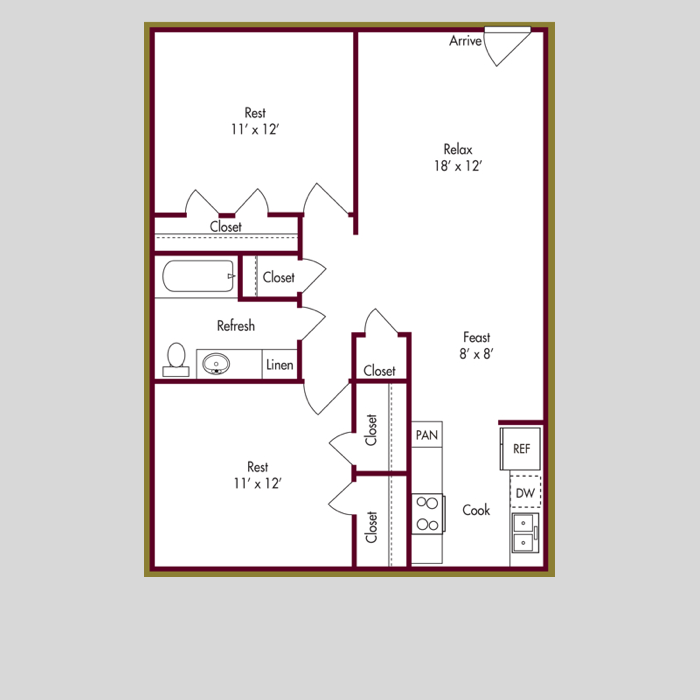 840 sq. ft. B floor plan