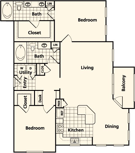 1,247 sq. ft. to 1,271 sq. ft. E2 floor plan