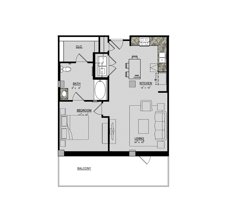 805 sq. ft. Aster floor plan
