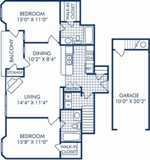 985 sq. ft. B1R floor plan