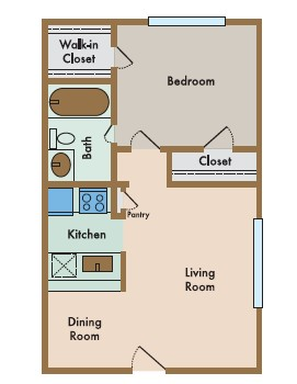 540 sq. ft. Sereno floor plan