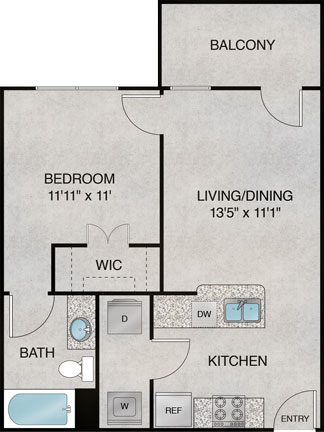 572 sq. ft. A5 floor plan