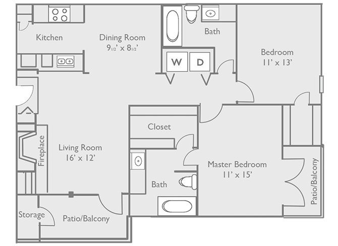 1,094 sq. ft. C2 floor plan