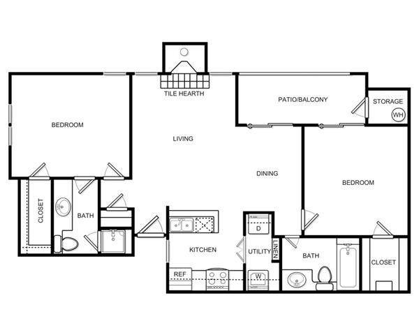1,063 sq. ft. B2C floor plan