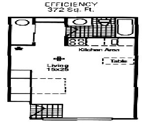 372 sq. ft. Rue floor plan