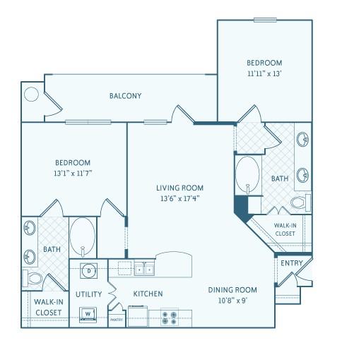 1,181 sq. ft. B2 floor plan
