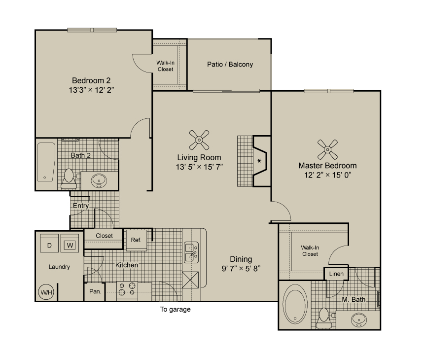 1,124 sq. ft. B2.1 floor plan