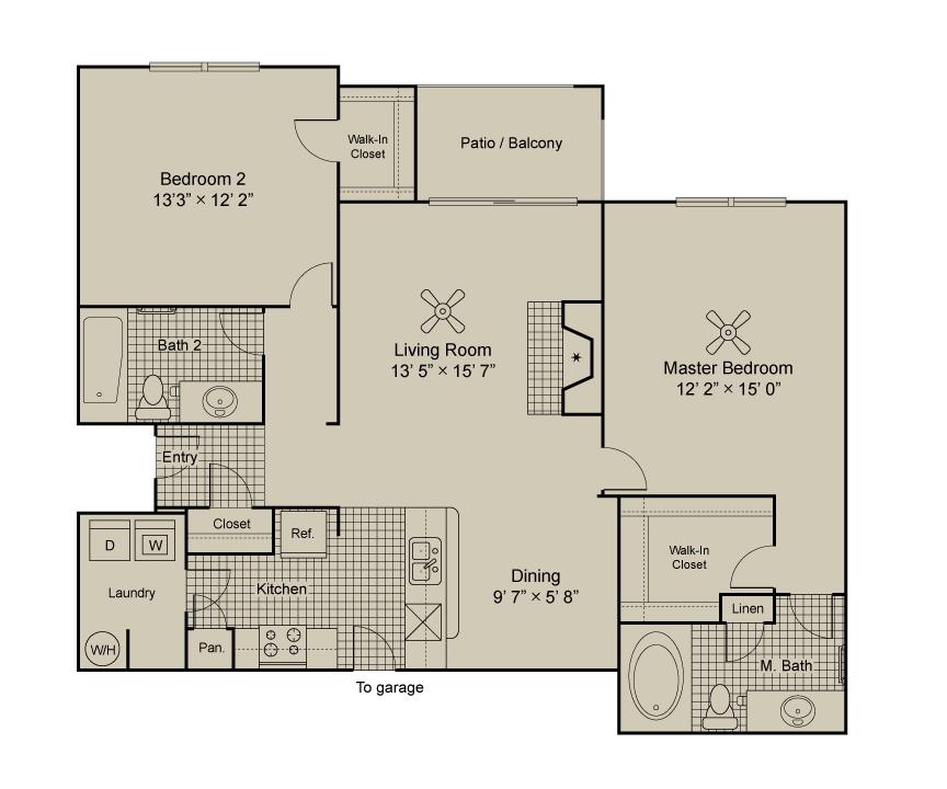 1,124 sq. ft. B2.1 floor plan