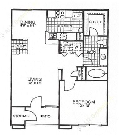 754 sq. ft. A2 floor plan