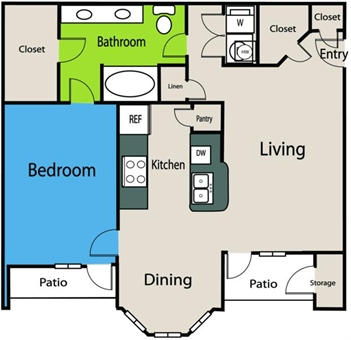 835 sq. ft. A5 floor plan