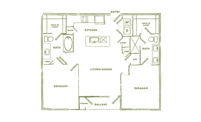 1,059 sq. ft. B1 floor plan