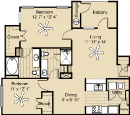 969 sq. ft. Llano floor plan