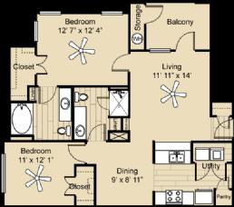 969 sq. ft. Medina floor plan
