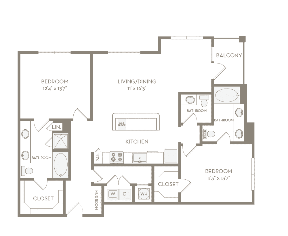 1,313 sq. ft. B4 floor plan