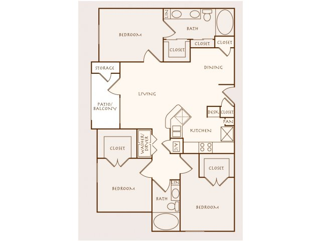 1,329 sq. ft. C1 floor plan